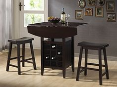 Gera 3pc Espresso Drop-leaf Pub Set w/ Wine Rack, 1 Table and 2 Stools