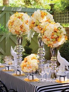 Yellow & White flowers.   Love this, for a Wedding Shower or a Wedding Brunch-So fresh and crisp!!