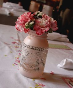 lace spray painted mason jars - Google Search