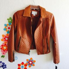 Brown Like Leather Jacket - Size S Quilt Style. New With Tag Bar III Jackets & Coats