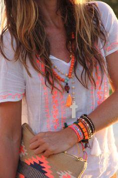 Ibiza Sunset Orange & Fluorine Shirt ~ Boho