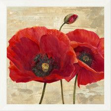'Red Poppies (Detail II)' by Cynthia Ann Framed Painting Print on Canvas