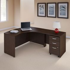 Bush Series Left Hand C Manager's Desk in Mocha Cherry Finish Desk with File Cabinet Sliding Door Bookcase, Open Bookcase, L Shaped Office Desk, Modern Office Desk, Home Office Design, House Design, Martin Furniture, Office Furniture, Adjustable Height Table