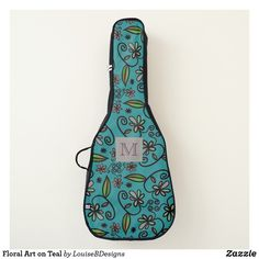 Floral Art on Teal Guitar Case