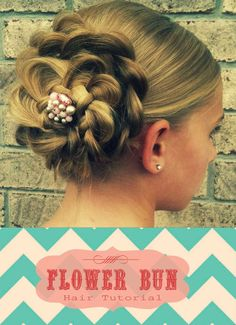 Check out this Flower Bun Tutorial :: Cute, fast, and easy hairdo! Just did it myself and it took about 10 minutes The post Flower Bun Tutorial :: Cute, fast, and easy hairdo! Dance Hairstyles, Cute Girls Hairstyles, Flower Girl Hairstyles, Braided Hairstyles Updo, Pretty Hairstyles, Wedding Hairstyles, Natural Hairstyles, Princess Hairstyles, Communion Hairstyles