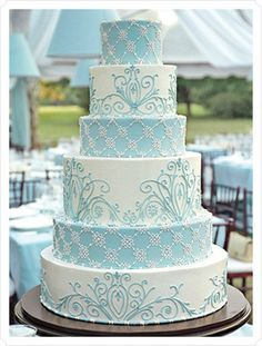 Blue and white 6 tier wedding cake!!!!!!!!!!!!