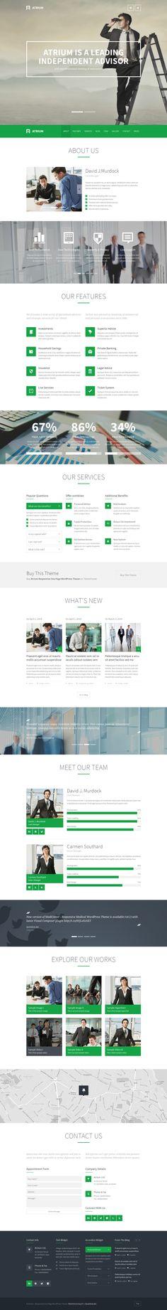 Atrium – Responsive One Page WordPress Theme by CreAtive Web Themes, via Behance