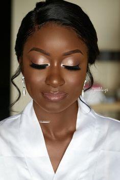 How to get a natural bridal glam look by Joy Adenuga - Make Up Ideas Black Bridal Makeup, Makeup Black, Wedding Makeup For Brown Eyes, Best Wedding Makeup, Dark Skin Makeup, Natural Wedding Makeup, Wedding Makeup Looks, Bridal Hair And Makeup, Natural Makeup
