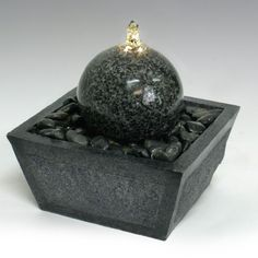 Fiberglass/Resin Ball Stone Tabletop Fountain with LED Light