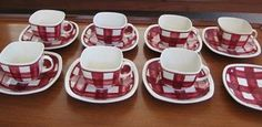 Red gingham cups and saucers