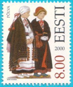 Folk costumes of southeastern Estonia. Põlva by Mari Kaarma, stamp from
