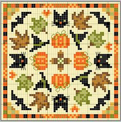 gazette94: BISCORNU D' AUTOMNE--love these little cross stitches!! Short and sweet.