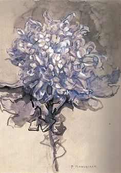 Piet Mondrian - Chrysanthemum And then he went on to do geometric, hard edge, primary color, abstract art. Piet Mondrian, Mondrian Kunst, Art Floral, Art And Illustration, Guache, Dutch Artists, Art Design, Botanical Art, Oeuvre D'art