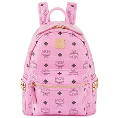 MCM Mini Stark Backpack ($705) ❤ liked on Polyvore featuring bags, backpacks, mini backpack, knapsack bags, miniature backpack, studded bag and pink studded backpack