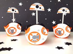 BB8 Star Wars Cupcake Toppers Set of 12 Star Wars by pinkskyshop