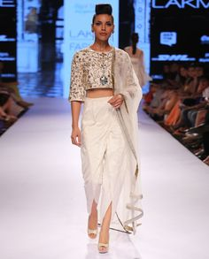 Embroidered Ivory Crop Top with Dhoti Pants
