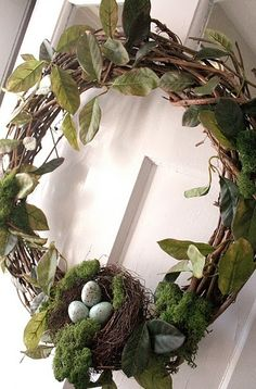 wreaths.... I love the Birds nest as the focal point. All I need now is just a touch of red for Christmas. This can be an 'anytime' wreath.
