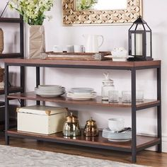 Shop for TRIBECCA HOME Somme Rustic Metal Frame Storage Sofa Table TV Stand. Get free shipping at Overstock.com - Your Online Furniture Outlet Store! Get 5% in rewards with Club O! #sofatablewithoutlet