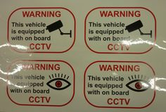 CCTV warning sign printed on cling film which goes inside a window set of 4 UK