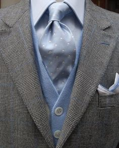 powder blue with light grey suit