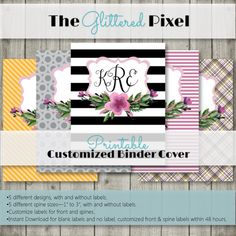 Printable Binder Covers - Purple Watercolor Collection -  Plaid / Chevron / Polka Dots / Rugby Stripes / Stripes - Custom Binder Inserts by TheGlitteredPixel on Etsy