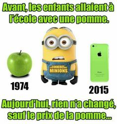Prix de la pomme Minions Quotes, Iphone, Emoji, Lol, Fictional Characters, Funny Minion, Miniature, Banana, French