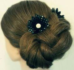 Braided updo wedding hair bridal hair Asthecurlturns.com Facebook.com/victoryroll  Doordye-sj.com