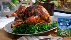 Get this all-star, easy-to-follow Ranch Turkey recipe from Katie Lee (The Kitchen Show). This one sounds really good - butter mixed with ranch dressing goes under the skin.