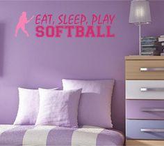 softball quote wall decal eat sleep play softball