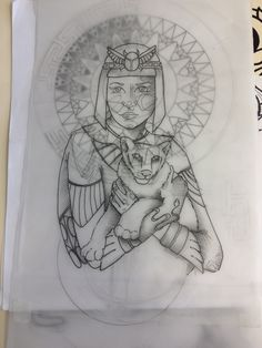 Collaboration design for a Tattoo. Jesse Singleton is doing all the beautiful Mandalas and I'm doing Cleopatra and the panther cub. It will look amazing!