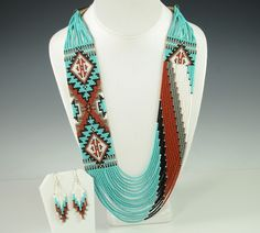 Navajo Artist Rena Charles Hand-Made this Wide Turquoise Rug PatternNecklace with Matching Earrings.