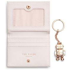 Women's Ted Baker London Leather Card Case With Robot Key Chain ($47) ❤ liked on Polyvore featuring bags, wallets, leather bags, fake leather wallet, pink leather wallet, real leather wallets and leather snap wallet