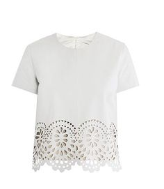 laser-cut leather tee