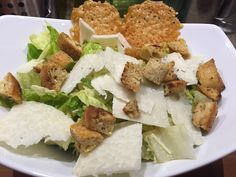 Caeser salad with dressing made using anchovies, homemade croutons, crisp hearts of romaine and parmesan crisps is a standard at our household. Homemade Croutons, Parmesan Crisps, Fresh Garlic, Original Recipe, The Fresh, Craft Beer, Feta, Philosophy, Household