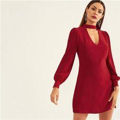 baf12f298e3ee8 2019 Designer Burgundy Choker Neck Sheath Short Party Dress – HopinShopin.  Matching Mother Daughter t-shirts ...