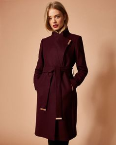 Cashmere-blend wrap front coat - Maroon | Jackets and Coats | Ted Baker UK