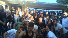Celebrity supporters of Bernie Sanders pose for a photo with campaign volunteers in Hayward, California on Friday.