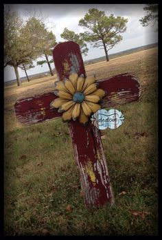 SALE PRICE Large barn wood cross with giant metal by aleatoire, $55.00