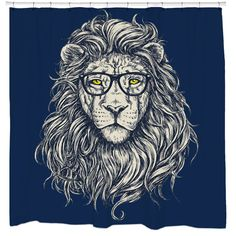 Wise Lion Shower Curtain Printed in USA by sharpshirter on Etsy