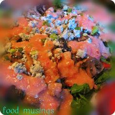 Swiss Chard Salad with Warm Bacon and Mushroom Vinaigrette {Via Food Muser}