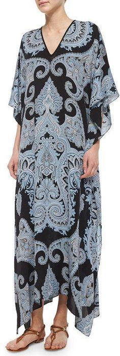 Michael Kors Paisley-Printed Long Tunic, Black/Ice Multi #fashion #style #dress #black #multi