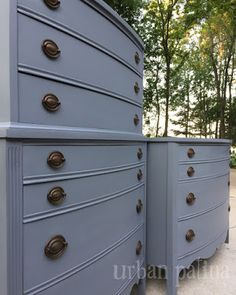Dressers painted a medium cool grey by mixing ASCP in Graphite and Paris Grey. Wax added to final finish.