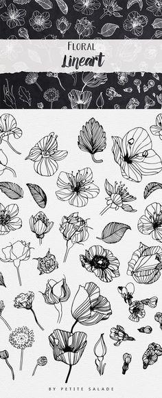 Floral Line Art Ink Drawing Inspiration Botanical Drawings, Botanical Illustration, Floral Illustrations, Pattern Illustrations, Botanical Line Drawing, Pen Illustration, Simple Illustration, Drawing Hands, Flower Doodles