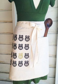 Woodland Owl Cafe Style Half Apron Eco Friendly by KitchTowels, $30.00