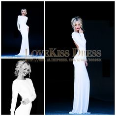 Sexy Vestidos De Fiesta Scoop Neck Open Back With Long Sleeve Elegant White Prom Dress DYQ907-in Prom Dresses from Apparel & Accessories on ...
