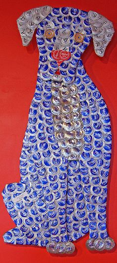 Blue Dog Bottle Cap Art