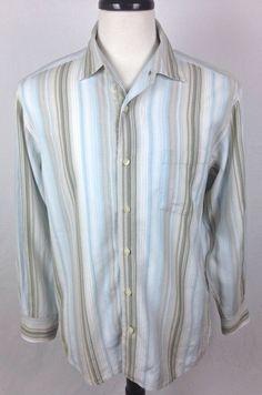 Tommy Bahama Shirt Mens M Blue Stripe Long Sleeve  #TommyBahama #ButtonFront
