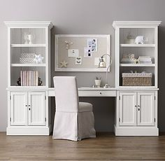 RH Baby & Child's Harper Study Wall:A timeless combination of open and concealed storage keeps books, toys and treasures neatly and handsomely organized. Home Office Space, Home Office Design, Home Office Furniture, Home Office Decor, Desk Wall Unit, Restoration Hardware Baby, Muebles Living, Bookcase Storage, Bookshelves