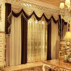 European Fashion, Luxury Living, Valance Curtains, Shades, Living Room, Simple, Home Decor, Decoration Home, Room Decor