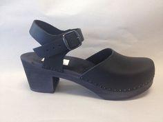 Black oiled on Black Dalanna Medium Heel with buckle ankle strap